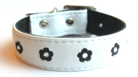 Funky Flowers Leather Dog Collar