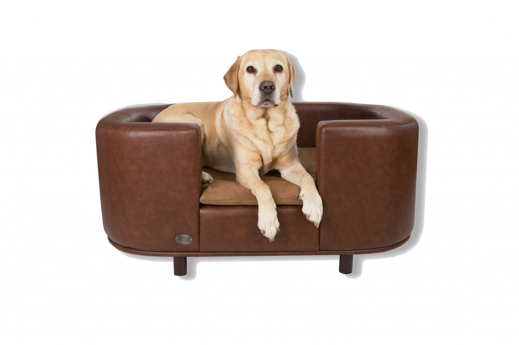 Hampton Luxury Leather Brown Dog Bed by Chester and Wells