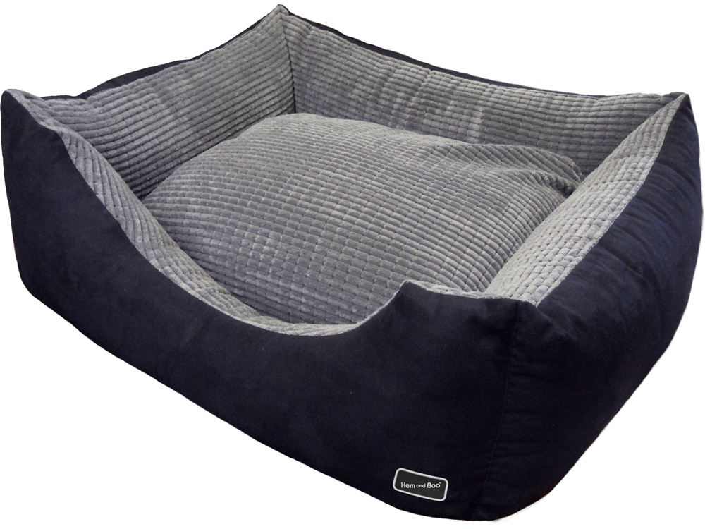 Chill Out Corded Rectangle Dog Beds for Staffies Black by Hem And Boo