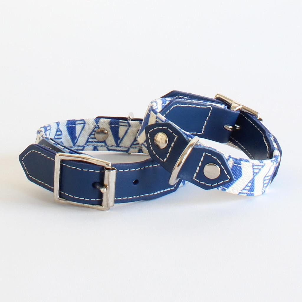 Hiro And Wolf Navy Blue Geometric Print Designer Dog Collars