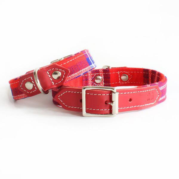 Hiro And Wolf Designer Red Leather Dog Collar Masai Tartan