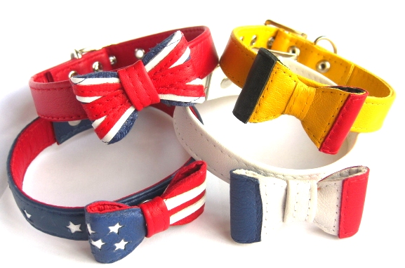 Country Flags Leather Bow Tie Dog Collars