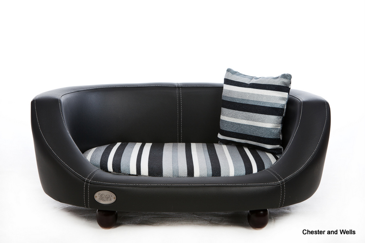 Oxford II Luxury Leather Black Dog Bed by Chester and Wells