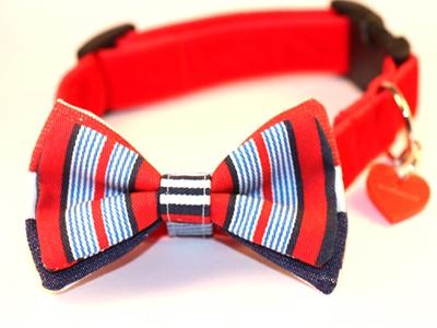 Pompey Bow Tie Designer Dog Collar