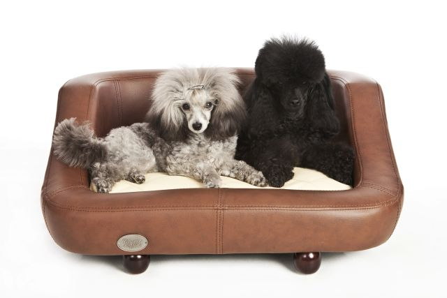 Richmond Luxury Leather Brown Dog Bed by Chester and Wells