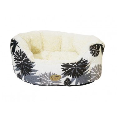Rosewood Black & Cream Floral Oval Dog Sleeper
