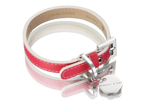 Saffiano Leather Dog Collar by Hennessy and Sons in Fuchsia 3