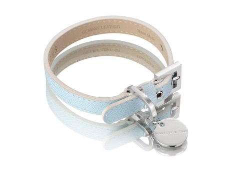 Saffiano Leather Dog Collar by Hennessy and Sons in Light Blue 3