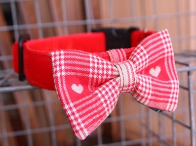 Sweetheart Bow Tie Red Dog Collar