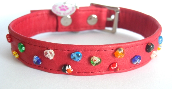 A Thousand Hearts Designer Red Leather Dog Collar