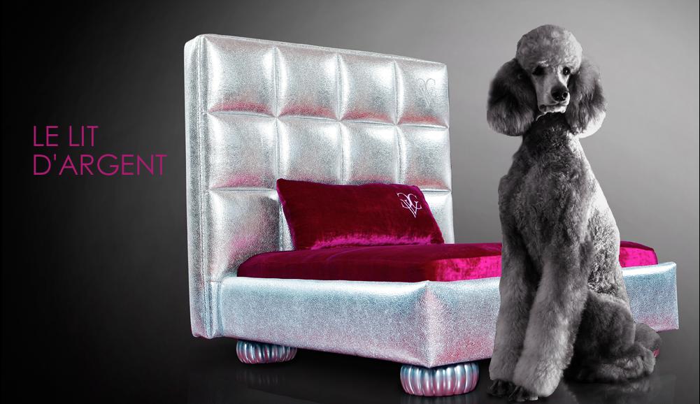 Chien Vivant Couture Le Lit D'argent Fancy Dog Bed