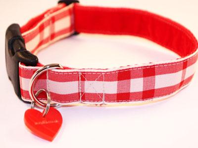 Cherry Check Designer Dog Collar