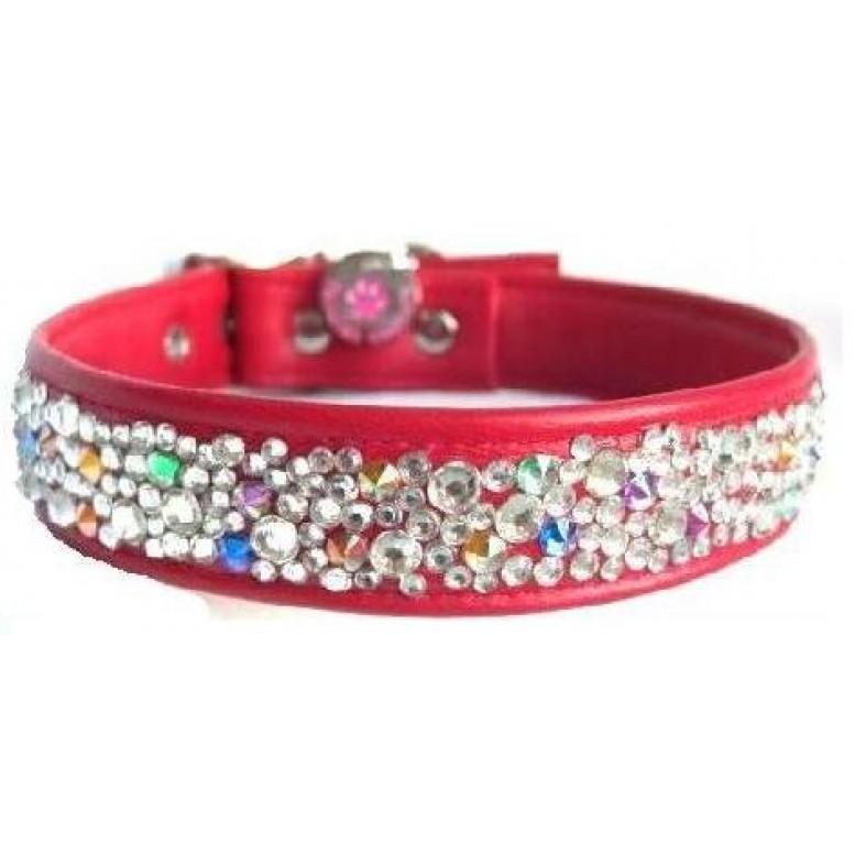 Crystal Cluster Designer Leather Red Dog Collar
