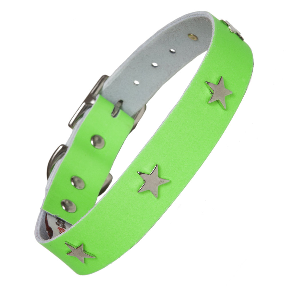 Creature Clothes Neon Green Leather Dog Collars