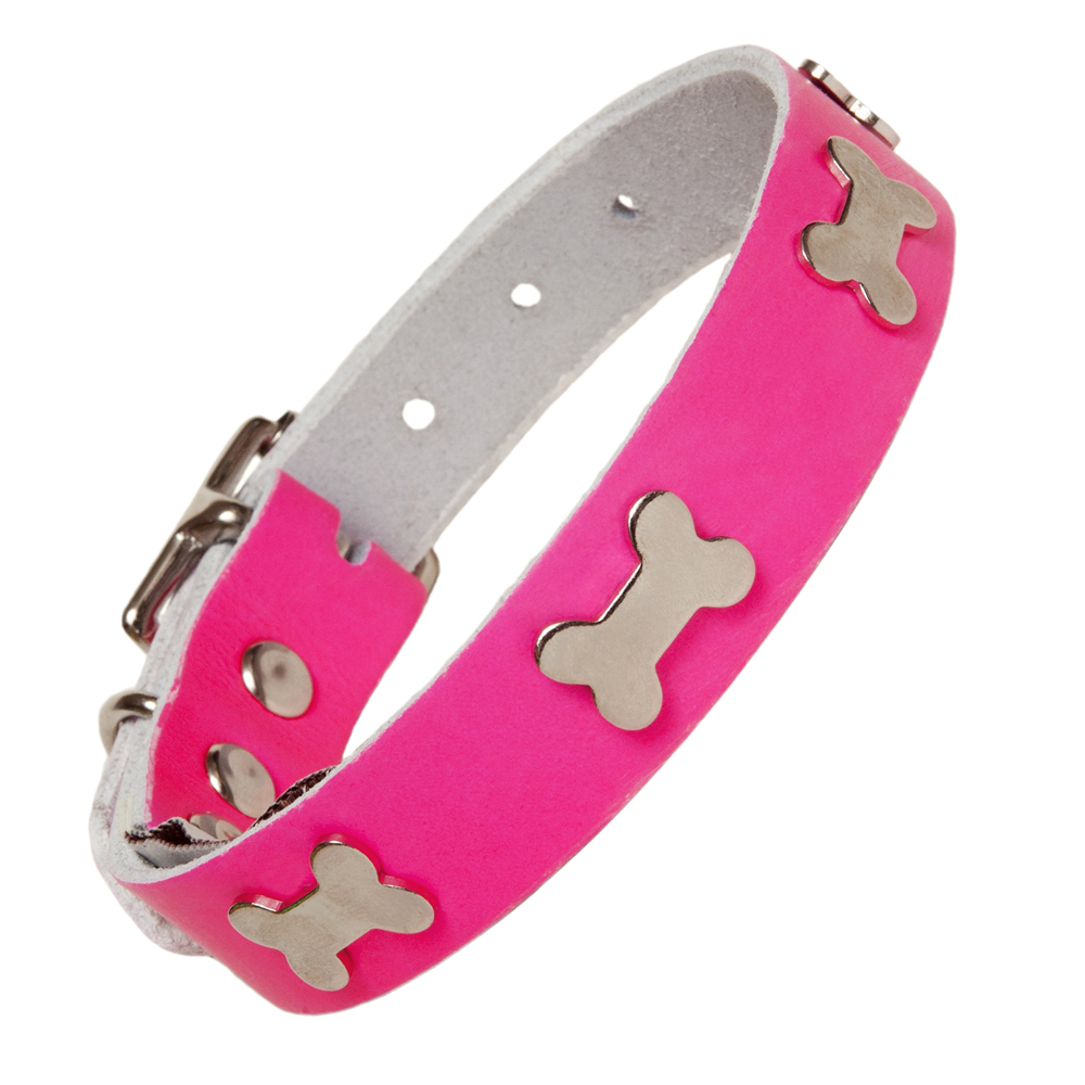 Creature Clothes Neon Pink Leather Dog Collars