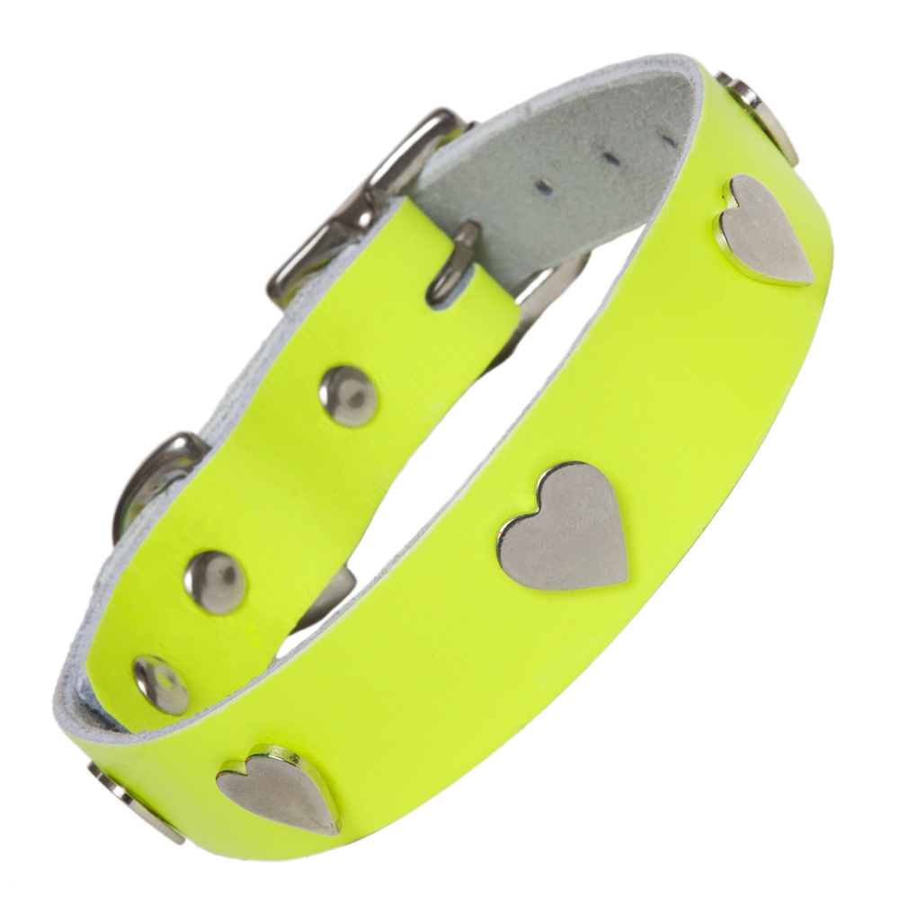 Creature Clothes Neon Yellow Leather Dog Collars