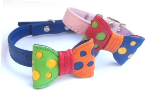 rainbows leather bow tie funky dog collars
