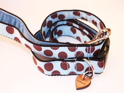 sky blue designer dog collar and lead set