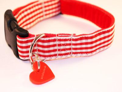 Strawberry Check Designer Red Dog Collar
