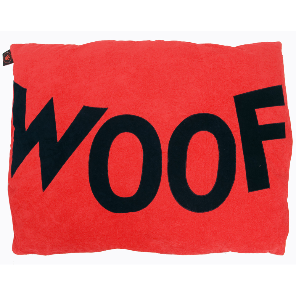 Woof Doza red dog bed by Creature Clothes