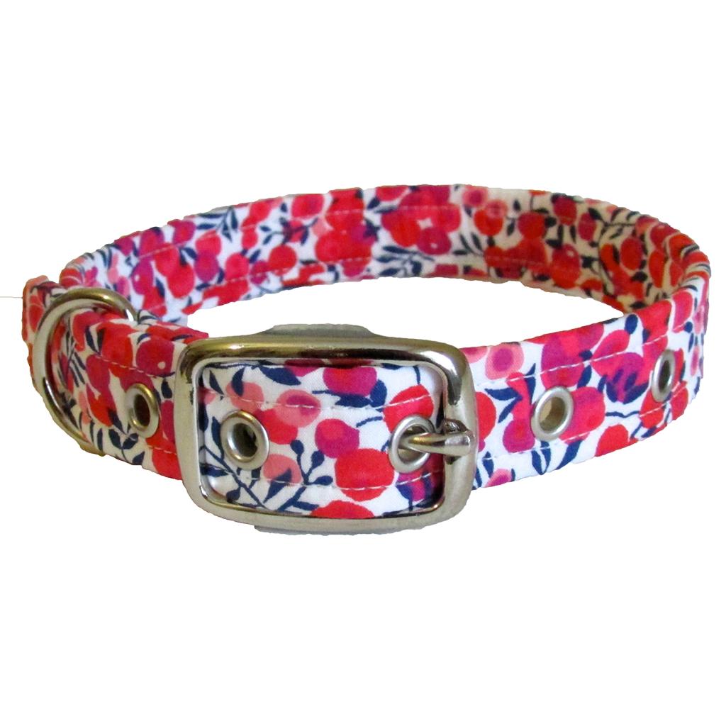 Bright Berry Liberty Of London Designer Dog Collar