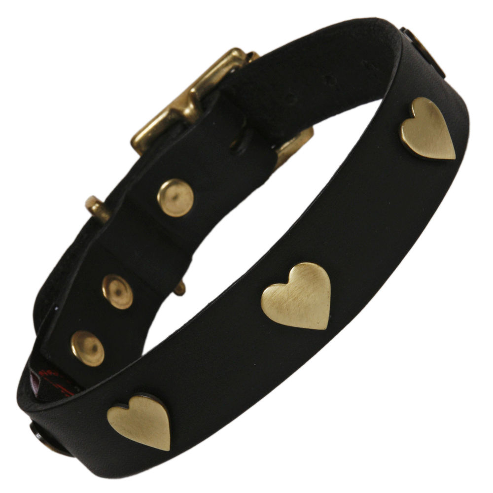 Best Labrador Collars Black Leather With Brass Hearts
