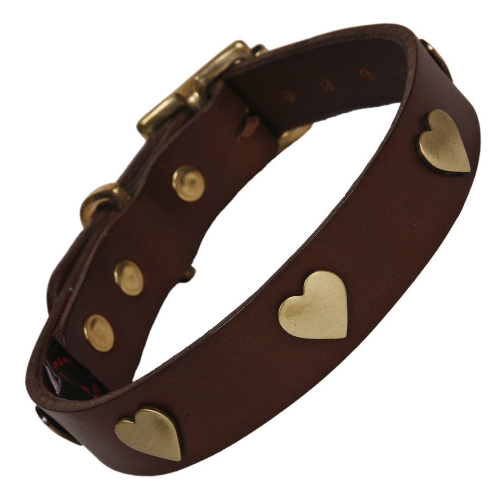 Best Collars For Labradors Brown Leather With Brass Hearts