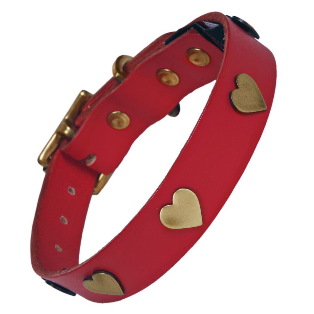 Best Collars For Labradors Red Leather With Brass Hearts