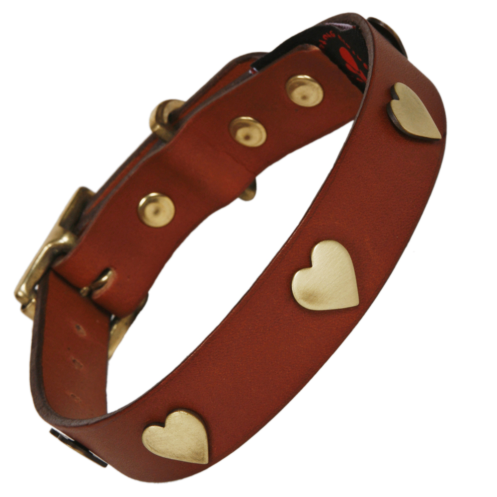 Best Collars For Labradors Tan Leather With Brass Hearts