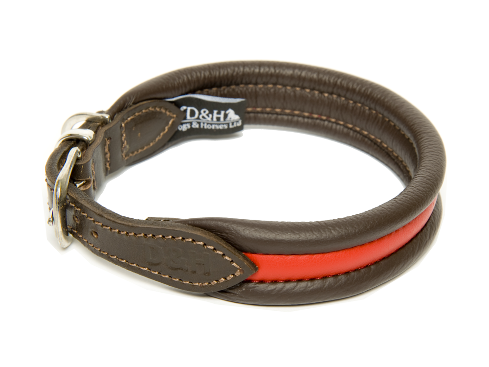 Red Striped Ribbed Leather Collars For Labradors