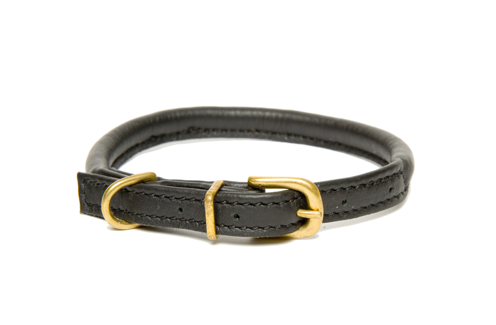 Black Rolled Leather Collars