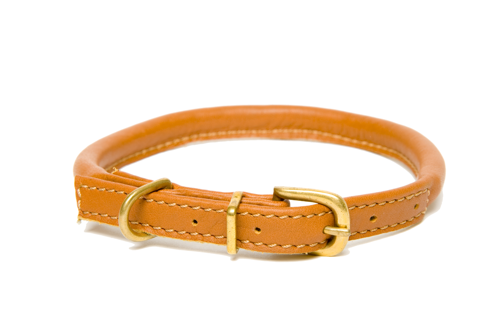 Tan Rolled Leather Collars For Labradors