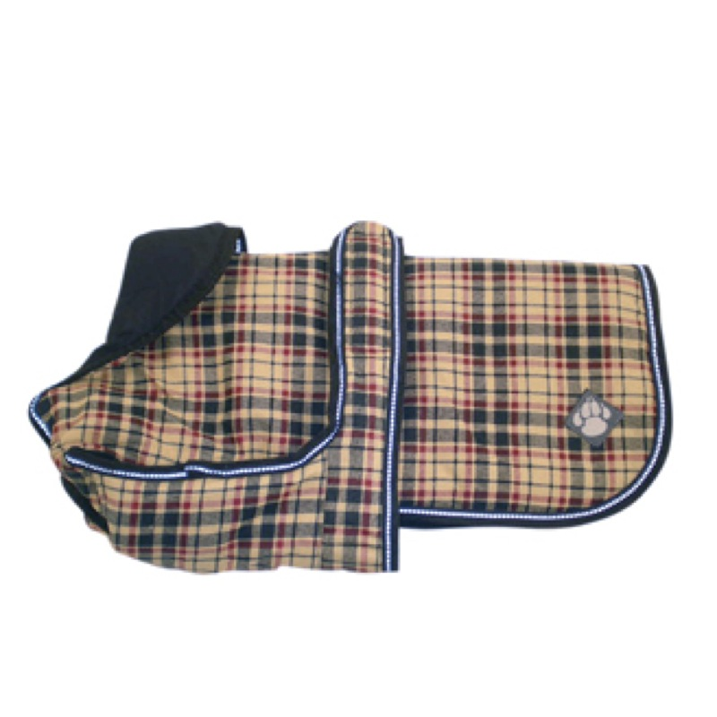 Luxury Winter Dog Coat With Reflective Beading Classic Check