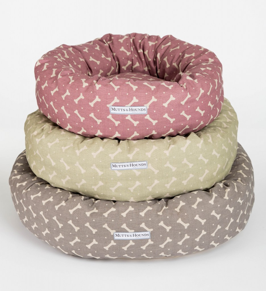 Mutts and Hounds Linen Bones Donut Dog Beds