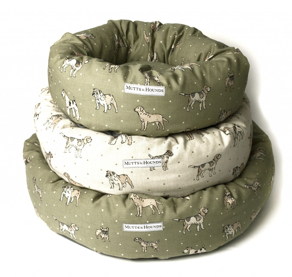 Mutts and Hounds Green Linen Dog Print Donut Dog Beds for pugs