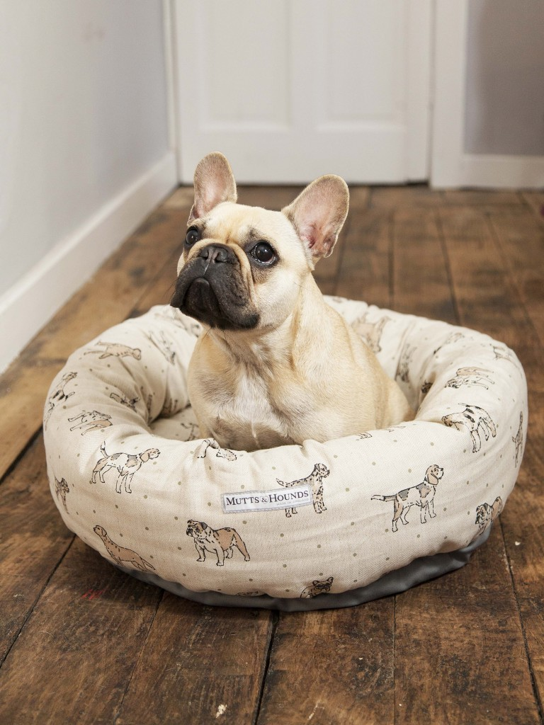 Mutts and Hounds Natural Linen Dog Print Donut Dog Bed