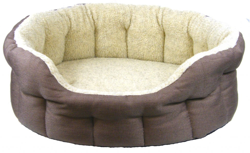 Superior Basket Weave And Fleece Drop Front Oval Dog Beds by Pets And Leisure Mink