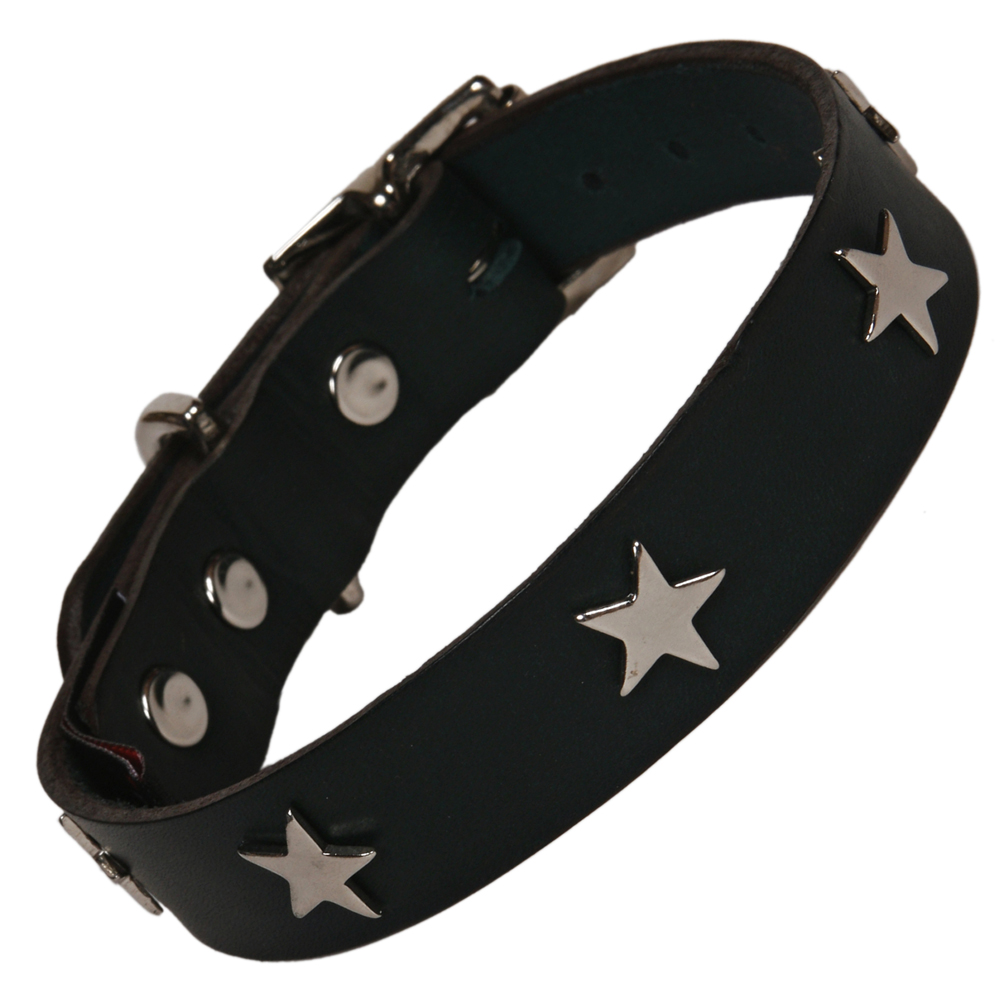 Creature Clothes Black Leather Dog Collars For Staffies With Silver Stars
