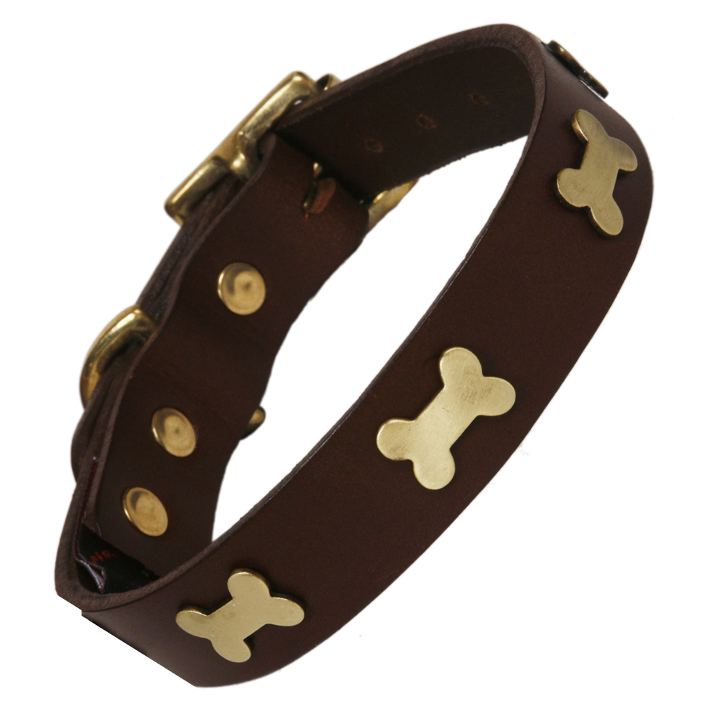 Creature Clothes Brown Leather Dog Collar For staffies With Brass Bones