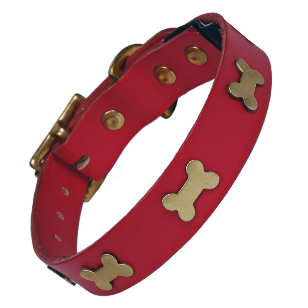 Creature Clothes Red Leather Dog Collar With Brass Bones