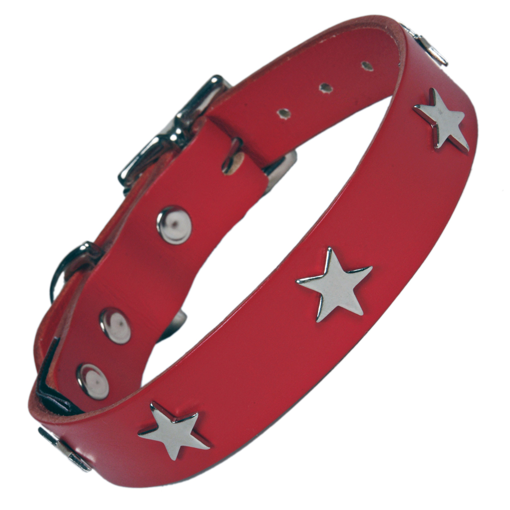 Creature Clothes Red Leather Dog Collar With Silver Stars