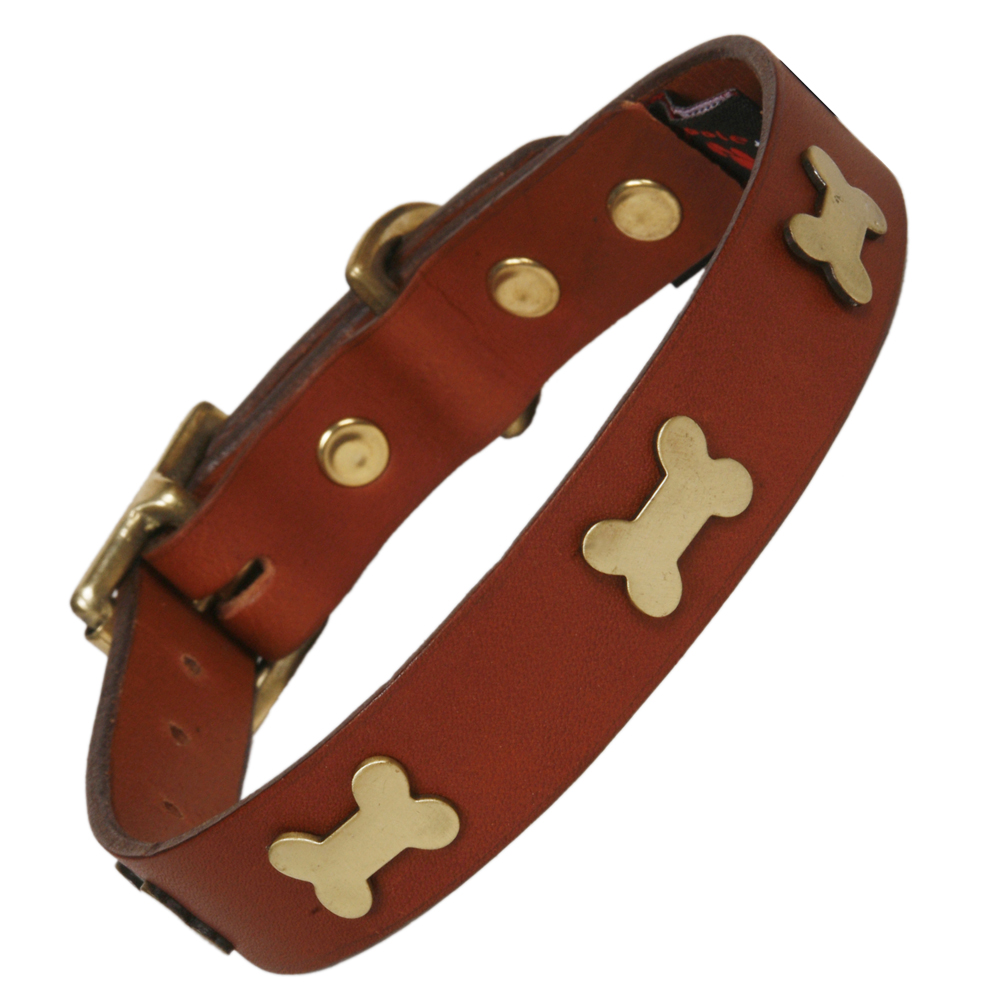 Creature Clothes Tan Leather Dog Collar With Brass Bones