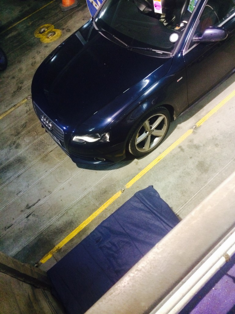 The crate is shown in the bottom left; the car shown is not ours.