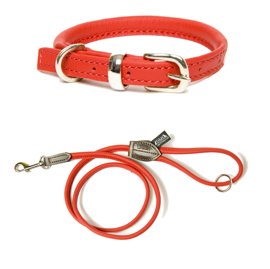 Dogs & Horses Rolled Leather Dog Collar and Lead Sets
