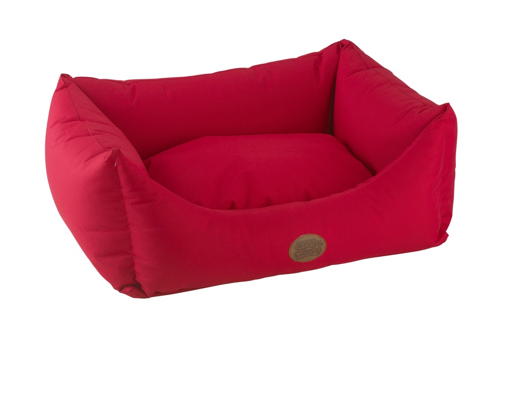 Snug and Cosy Pescara Rectangle Waterproof Dog Beds for cockapoos Red