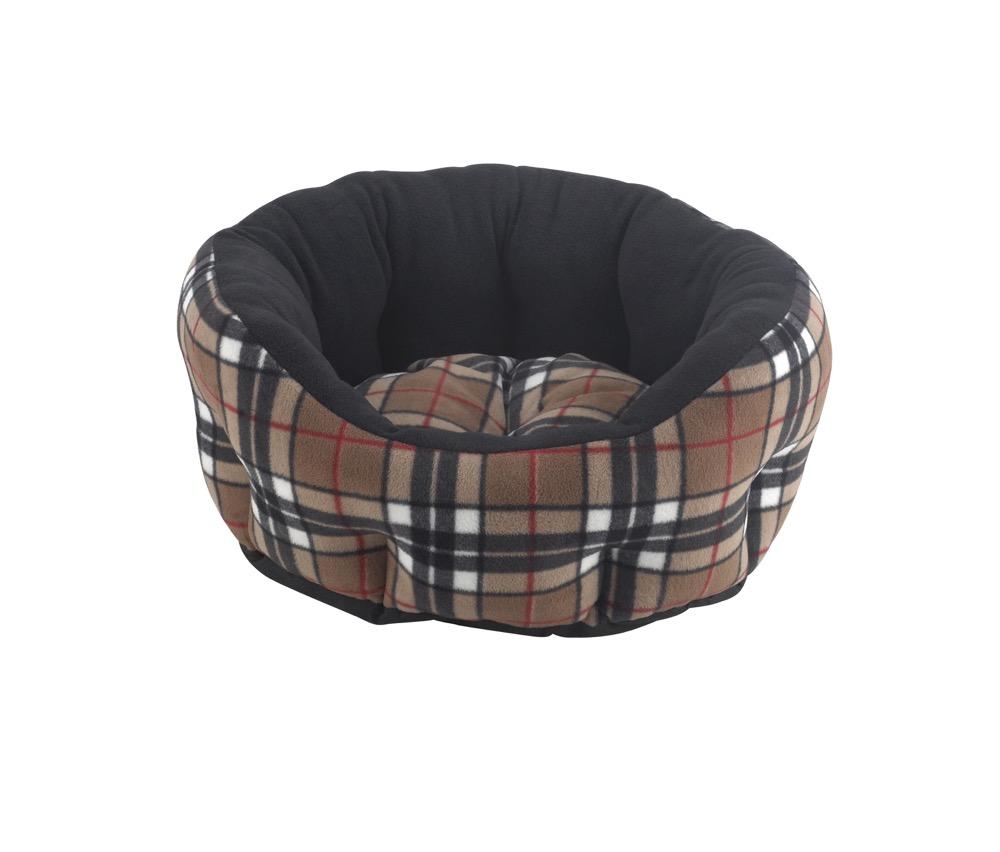 Snug and Cosy Verona Oval Caramel Check Snuggle Bed