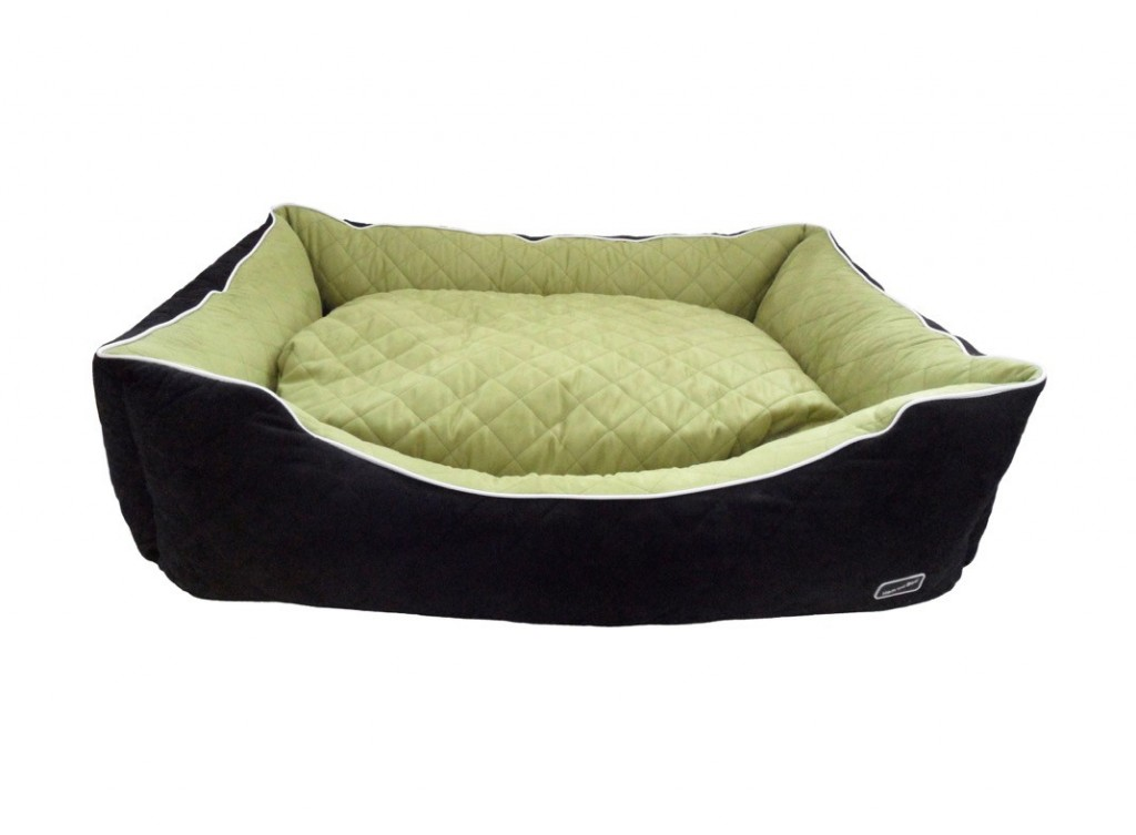 Chill Out Luxury Quilted Rectangle Apple Green Hem and Boo Dog Beds