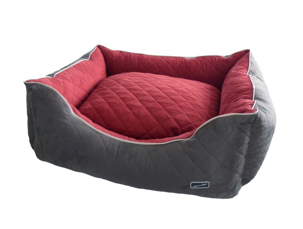 Chill Out Luxury Quilted Rectangle Dog Beds Brick Red