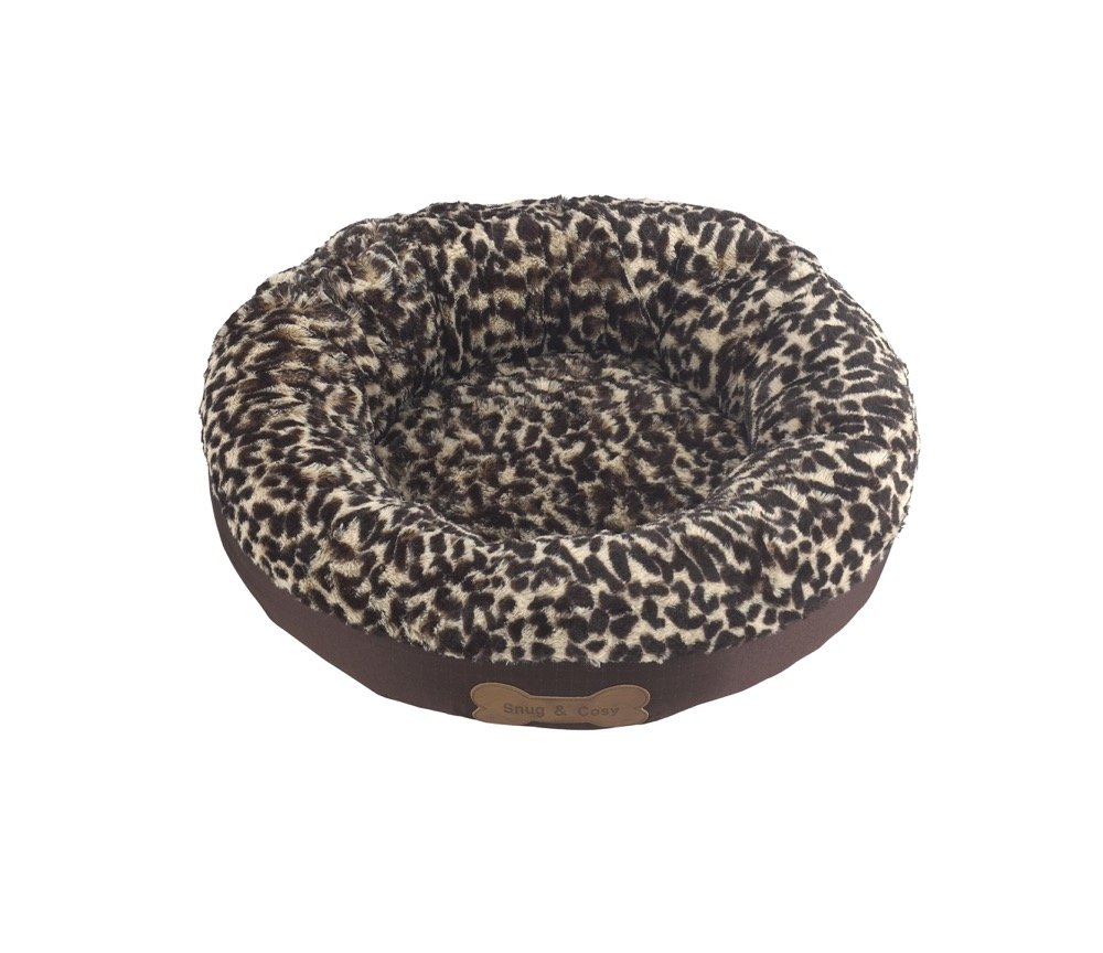 Snug And Cosy Rome Donut With Leopard Fleece Dog Bed