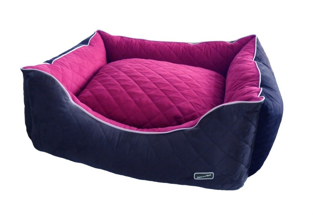 Chill Out Luxury Quilted Rectangle Raspberry by Hem And Boo dog beds